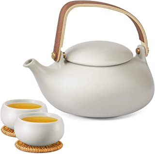 ZENS Teapot Cups Set with Infuser,Modern Frosted Ceramic Japanese Tea Pot 27 Ounce with 2 Kongfu Teacup & Rattan Coasters for Loose Tea Women,Grey