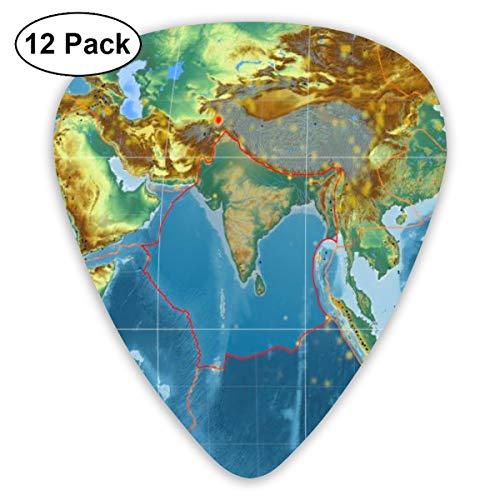 Gitaar Pick Indische Tectonische plaat geschetst op de wereldwijde Topografische Relief Kaart 12 Stuk Gitaar Paddle Set Gemaakt van Milieu Bescherming ABS Materiaal, Geschikt voor Gitaren, Quads, Etc
