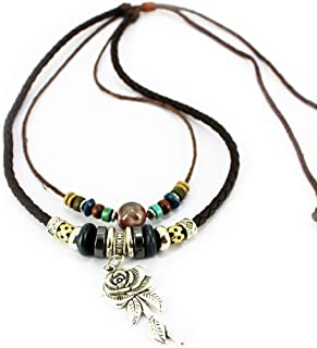 MORE FUN Double Braided Leather Rope Nekclace Vintage Beads Pendant Necklace Adjustable