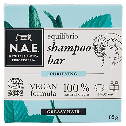 N.A.E. Shampoo Solido per Capelli Grassi Equilibrio, Shampoo Bar Ecologico e Vegano con Estratti di Salvia e Menta Biologici, 85 gr