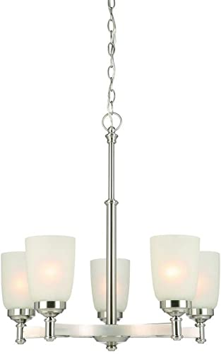 2021 Hampton Bay IUT8115A-3 5-Light wholesale Brushed Nickel online sale Chandelier with Frosted Glass Shades sale