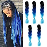 Kanekalon Ombre Braiding hair synthetic Crochet braids twist 24inch 5pcs/lot 100g Ombre two three tone Jumbo braid hair extensions Dreadlocks (black-blue-azure)