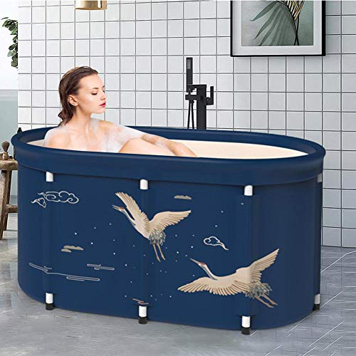 Portable Folding Bathtub, Freestanding Bath Bucket, Easy to install and drain, Best bath tool for Home, camping, school, 100x56x77cm