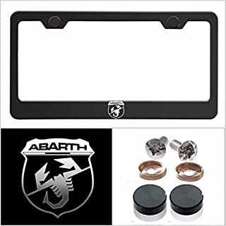 UFRAME Fit Abarth Laser Engraved Logo License Plate Frame Made of Industrial Grade Powder Coated Black Matte Black Stainless Steel w/Caps and Accessories