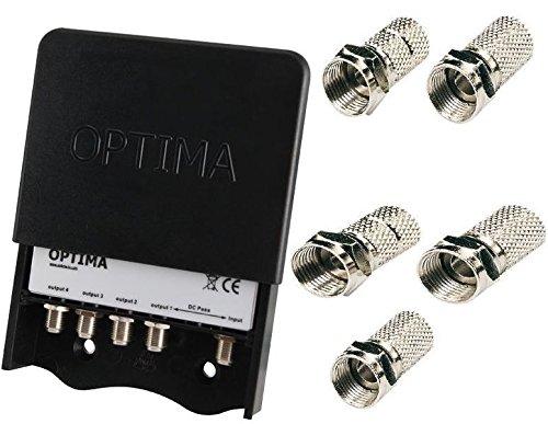 Optima - Distribuidor de TV para equipos por satélite para exterior (4 salidas)