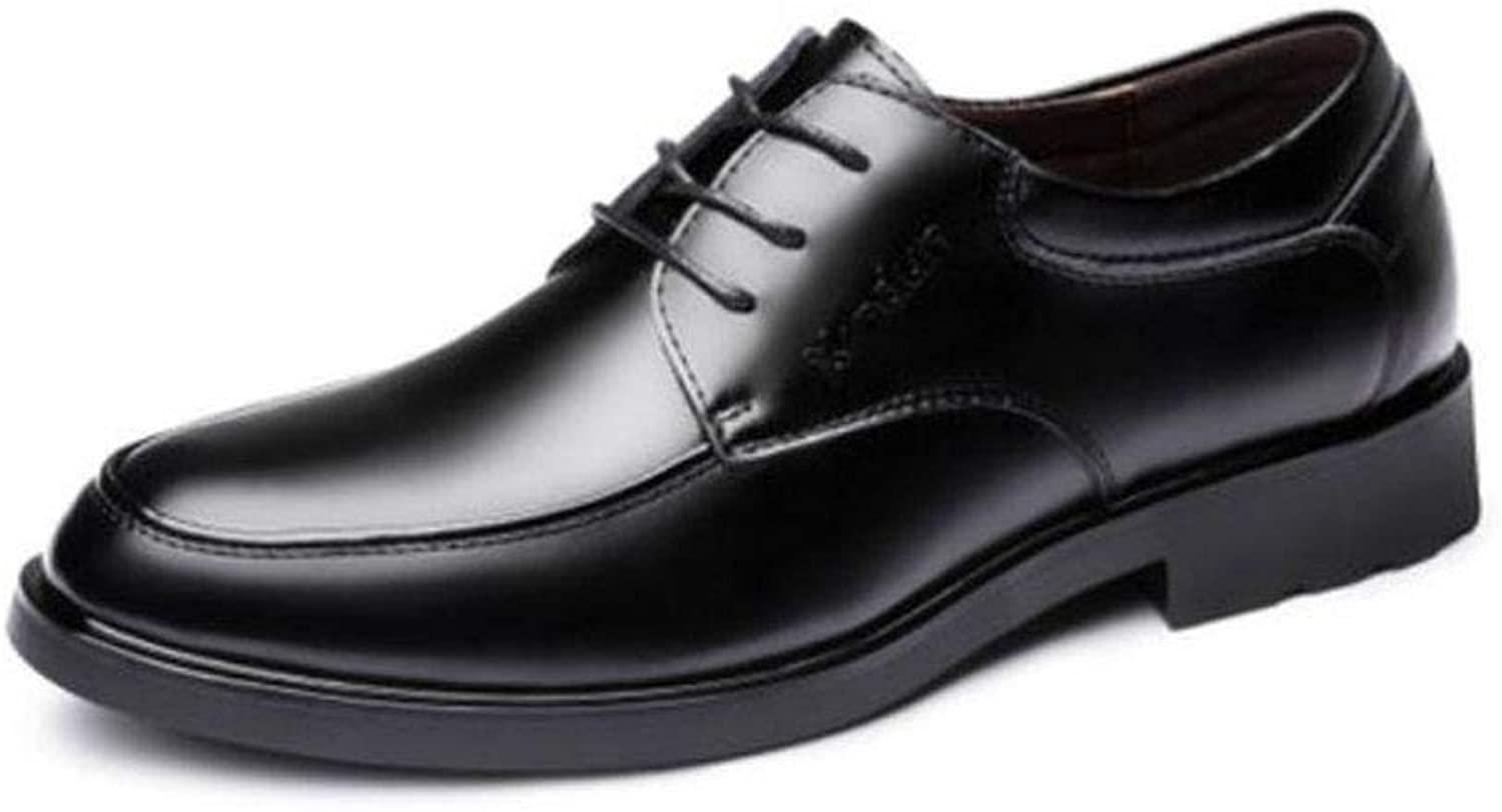 FH New Men's Leather shoes Breathable Round Head Business Casual shoes British Lace Men's shoes