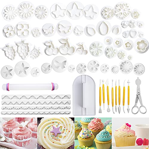 kit di stampi per decorazione 109 strumenti per Stampi Biscotti Formine Pasta di Zucchero Stampini per Dolci Stampini per Fondente con Fiori Attrezzi e Lettere Numeridi Modellazione, Decorare la Torta