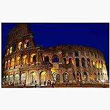 Doormat Door Mat Blue Amphitheater Dusk Roman Colosseum Forum Night Rome Arch Archaeology Architecture City Coliseum Machine Washable Non Slip Mats