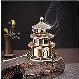 Qohg Incense Holder Brass Tower Supporto per incenso Palace Bruciatore di incenso Antigas Avvicinato Stick Incenso per Home Office Yoga Ornaments