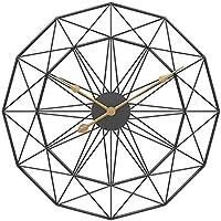 大きな丸い金属製の壁時計大きな時計、庭の屋外時計家の装飾シンプルなデザインサイレントベッドルームクォーツ時計、黒、60cm
