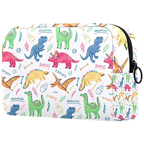 KAMEARI Bolsa de cosméticos Colorido Doodle Dinosaurios Palabras Patrón Grande Cosmético Bolsa Organizador Multifuncional Bolsas de Viaje