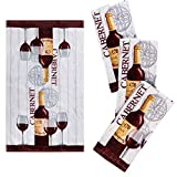 Franco Kitchen Designers Set of 4 Decorative Soft and Absorbent Cotton Dish Towels, 15' x 25', Rustic Wine