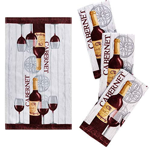 Franco Kitchen Designers Set of 4 Decorative Soft and Absorbent Cotton Dish Towels, 15