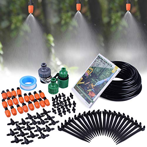 "MIXC 1/4-inch Mist Irrigation Kits Accessories Plant Watering System with 50ft 1/4"" Blank Distribution Tubing Hose, 20pcs Misters, 39pcs Barbed Fittings, Support Stakes, Quick Adapter, Model: GG0B"