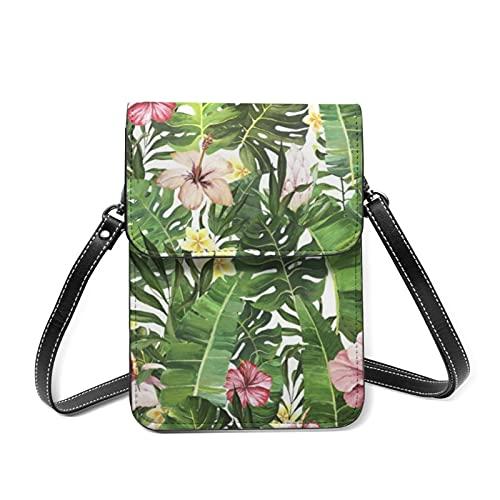 Sac à main pour femme - Sac à bandoulière - Motif aquarelle tropicale - Joli portefeuille de poche avec porte-cartes - - Papier peint tropical Monstera Feuilles de palmier, Taille unique