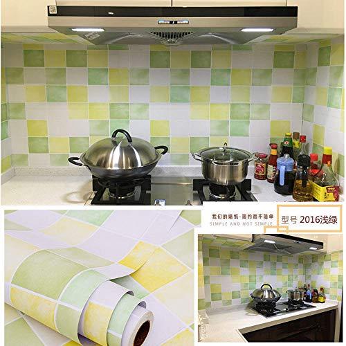 Papel pintado del lavabo del dormitorio de la sala de estar,Papel tapiz de lámina de sierra Pelar la tira de sellado PVC polietileno impermeable multifunción-Verde claro 2016_60 cm * 5m