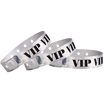 WristCo Holographic Silver VIP Plastic Wristbands - 100 Pack Wristbands for Events
