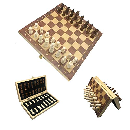 Magnetic Wooden Chess Set, Handmade Portable Travel Chess Board Game Sets with Game Pieces Storage Slots for Adults and Kids (12×12 Inch)