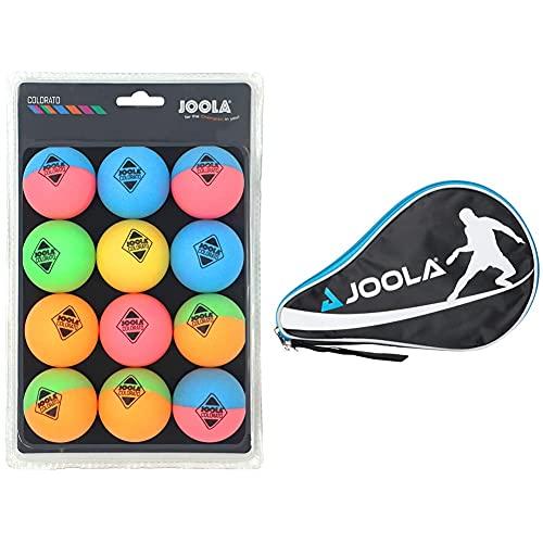 Joola Tischtennis Ballset Colorato mit 12 Bunten Bällen Tischtennisbälle & Tischtennishülle TT-Hülle Pocket Passend für 1 Tischtennisschläger und 3 Tischtennisbälle, Blue, One Size