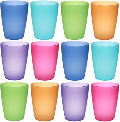 idea-station NEO bicchieri plastica, 250 ml, 12 pezzi, colorati, riutilizzabili, impilabile, whisky, cocktail, acqua, birra, set, infrangibili