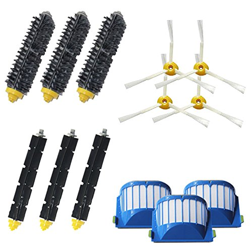 VacuumPal Replacement Parts Kit Including Bristle & Flexible Beater Brush & Armed-3 Side Brush & Filters for iRobot Roomba 600 Series 614 620 630 650 660 665 690 Vacuum Cleaner Accessory