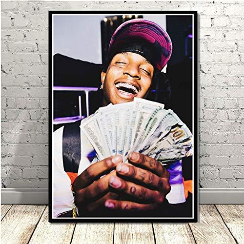 YuanMinglu Musik Hip-Hop Rapper Sänger Star Ski Maske Gottes depressive Plakat Kunst Malerei Wandbild Wohnzimmer Dekoration nach Hause rahmenlose Malerei 60x80cm