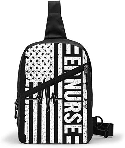 Schultertasche mit Krankenschwestern, amerikanische Flagge, Schultertasche, Brusttasche, Outdoor, Wandern, Reisen, persönliche Tasche für Damen und Herren, wasserabweisend