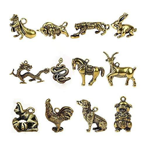 12 Estilos Ornamentos Escultura miniaturas de Cobre figurillas Zodiaco Llave Colgante Llavero Escritorio decoración Retro Coche Adornos (Color : 10)