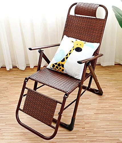 YIKANLIA Sedie Pieghevoli da Campeggio con poggiapiedi, Sedia di Vimini Estivi, sedie da Campeggio Portatile Leggero Sdraio reclinabile Estate Handmade Sedia a Mano per la Spiaggia,Marrone