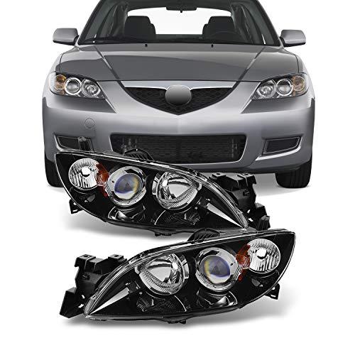 For Mazda 3 Mazda3 4 Doors Sedan Black Bezel Projector Headlights Headlamps Replacement Left + Right