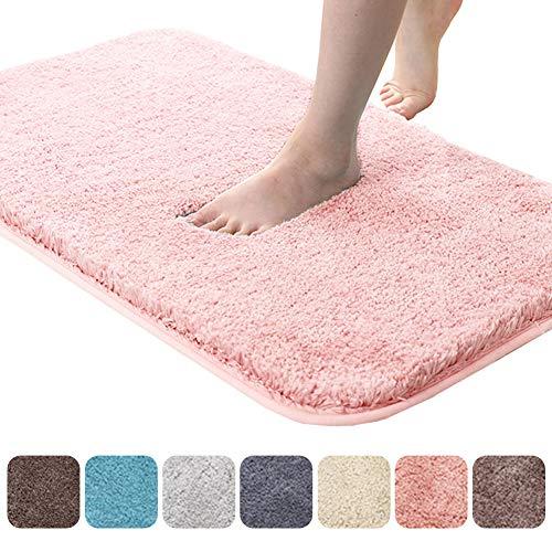 RMane Badematte Verdicken Hochflor rutschfest Badteppiche mit Wasserabsorbierenden Weiche Mikrofasern für Badezimmer Dusche Badewanne Schlafzimmer (Pink, 40 x 60 cm)