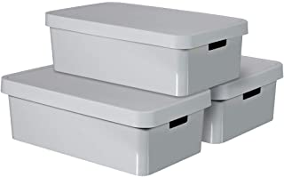 Curver Infinity Storage Boxes with Lid, Plastic, Light Grey, 30 litres