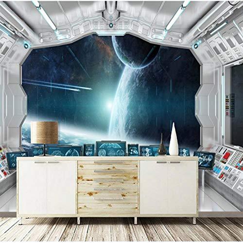 Fotobehang - vliesbehang voor de woonkamer, slaapkamer, kantoor, hal, decoratie, wandfoto-hemelslichaam buiten het raam van de ruimteschip 300(w)x210(H)cm