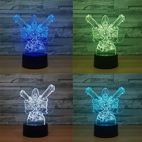 Jiushixw 3D acryl nachtlampje met afstandsbediening kleur tafellamp spel klok pioneer kinderen vakantie cadeau nacht Alexander tafellamp