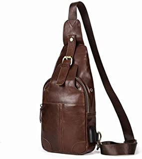 Large Capacity USB Charging Multifunction Outdoor Sports Crossbody Handbag Shoulder Bags Men Genuine Leather Chest Handbag Sturdy (Color : Coffee Color)