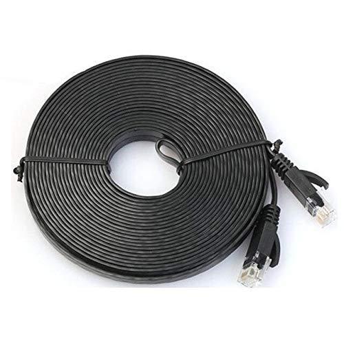 Durable Cable de Red RJ45 LAN Patch Lead Flat Cat6 Ethernet Modem Router Negro - (Longitud del Cable: 8 m, Color: Negro 1 m) (Color : 10m/Black 1m)