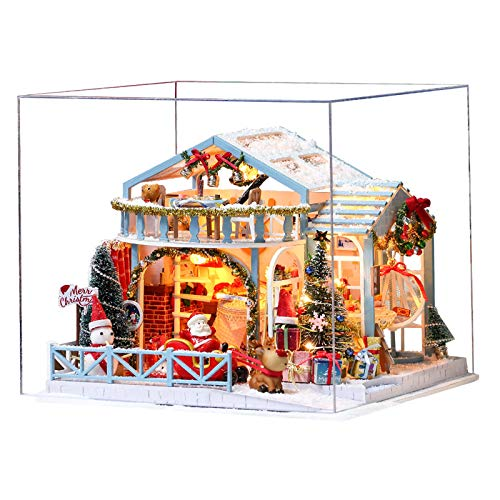 Fesjoy Casa de muñecas de madera, miniatura, casa de muñecas, kit de muebles, con luz LED, juguete compatible con niños