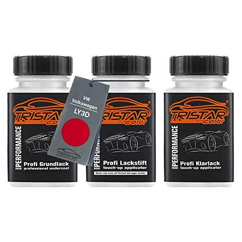 TRISTARcolor Autolack Lackstift Set für VW/Volkswagen LY3D Tornadorot Grundlack Basislack Klarlack je 50ml