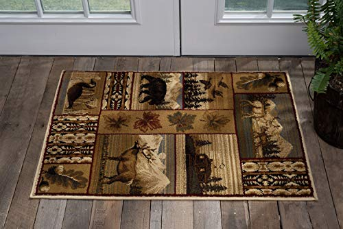 Tayse Scenic Wildlife Multi-Color 2x3 Scatter Mat Area Rug Cabin for Hallway, Walkway, Entryway, or Foyer - Lodge, Novelty