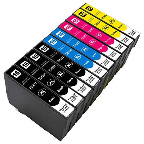 ESMOnline kompatible Druckerpatronen als Ersatz für Epson 016/016XL (Schwarz, Cyan, Magenta, Gelb; 10er Set) für Workforce WF-2760DWF 2750DWF 2660DWF 2650DWF 2630WF 2540WF 2530WF 2520NF 2510WF 2010W