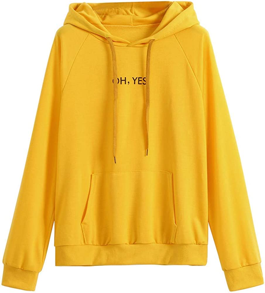 Girls' Hoodie, Misaky Casual oh yes Letter Print Long Sleeve Pocket Hooded Pullover Sweatshirt Blouse Tops
