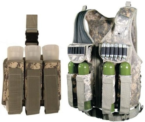 Ultimate Arms Gear Tactical Scenario Combo Combination Package Kit Set Include - ACU Army Digital Camo Camouflage Paintball Airsoft Battle Gear Tank - Armor Pod Vest + Ultimate Arms Gear Tactical ACU Army Digital Camo Camouflage Triple Universal Paintball 3 Pods Drop Leg Carrier Pouch Utility Rig Harness System