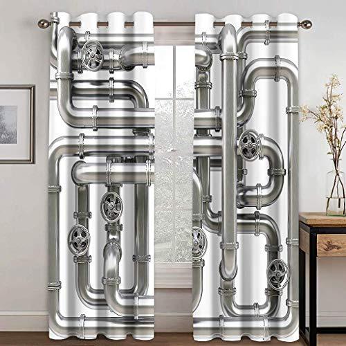Cortinas Aislantes Térmicas Impresión 3D - con Ojales,Reducir el Ruido y Aislantes Térmicas - Decoración del hogar para salón y Dormitorio - tubería 2X(140x180) cm