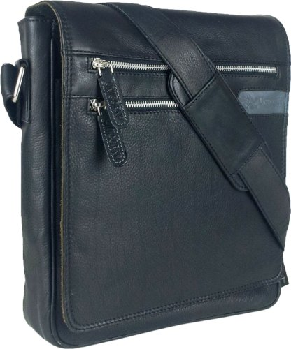 UNICORN Vera Pelle ipad, Ebook o Tablets Borsa Nero Messenger Bag #3G