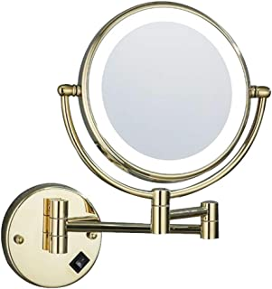 Makeup/Vanity Mirror with LED Light, Two-Sided Bathroom Mirror Wall Mount Cosmetic Mirror 3X Magnifying Makeup Mirror Shaving in Bedroom or Bathroom Powered by Plug,Gold
