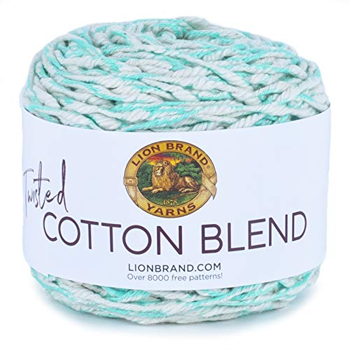 Lion Brand Yarn Twisted Cotton Blend Yarn, Aqua/Ecru
