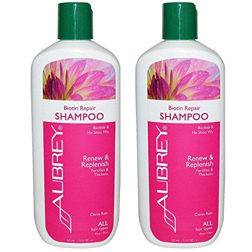 Aubrey Organics Biotin Repair Shampoo für alle Haartypen mit Baobab und er Shou Wu und Citrus Regen Duft, 11fl oz (325ml) (Pack von 2)