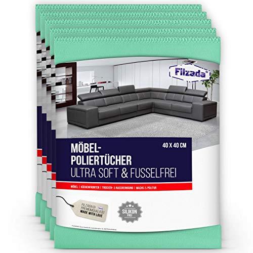 Filzada® 5x Premium Möbel Poliertuch - Garantiert fusselfrei bei Trocken- & Nassreinigung - 200 GSM in 40 x 40 cm (grün)