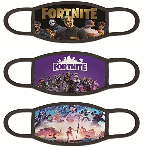 3 pcs Fortnite Gmae-Theme Face Mask Windproof and Dustproof for Boys Girls