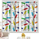 Cortinas de bloque para dormitorio, niños, lápices de colores, cuadrados de 52 x 54 pulgadas, cortinas de bolsillo para barra para sala de estar